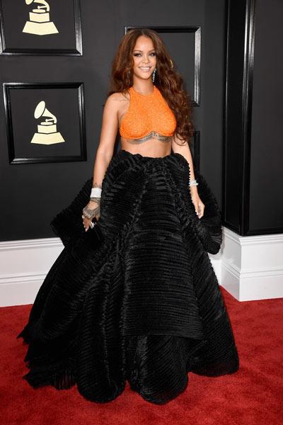 Robe de soirée deux pièce orange noire Rihanna