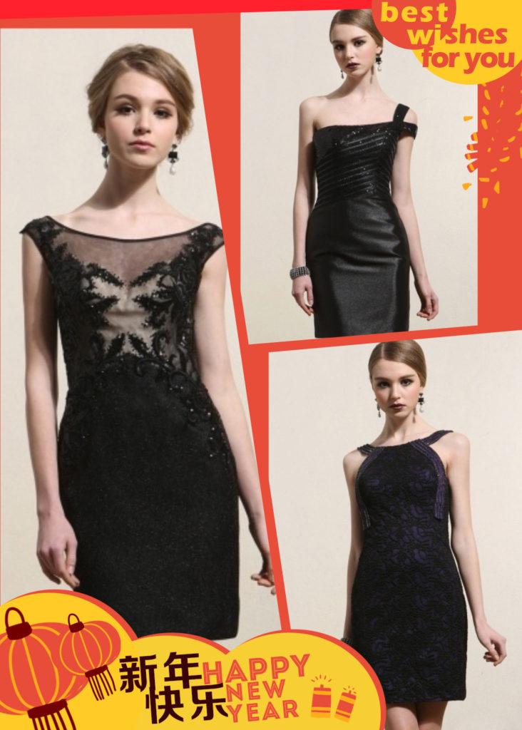 robes de cocktail noires courtes pour mariage