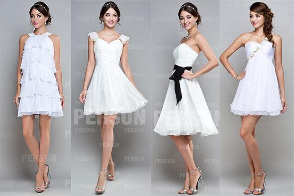 Robes cocktail blanches courtes pour aller à un mariage