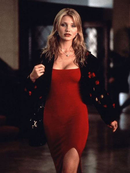 robe de cocktail rouge fourreau Cameron Diaz