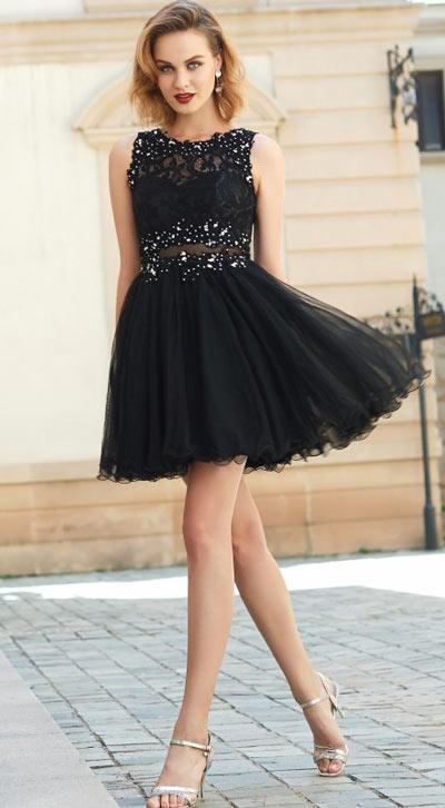 robe de cocktail noire courte à haut strassé