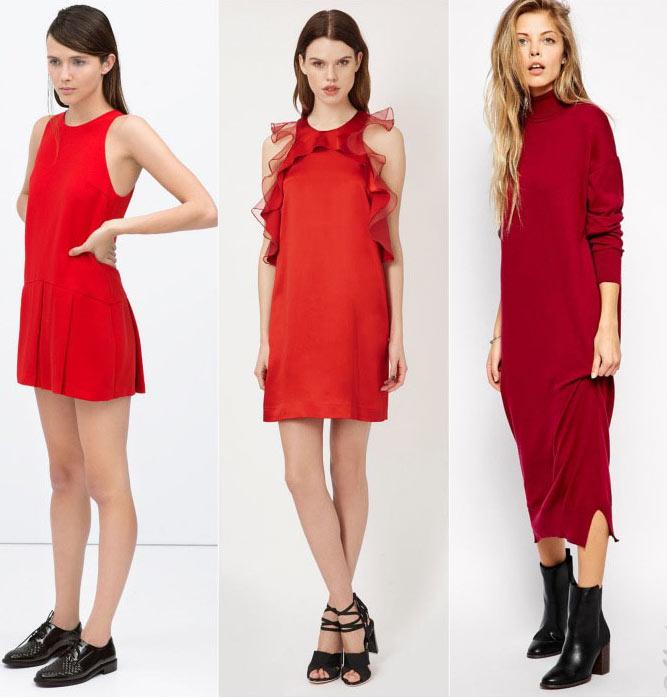 robes rouges habillée et chaussures noires