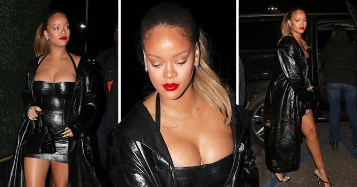 Rihanna porte robe courte sexy noire avec sandales à talon haut