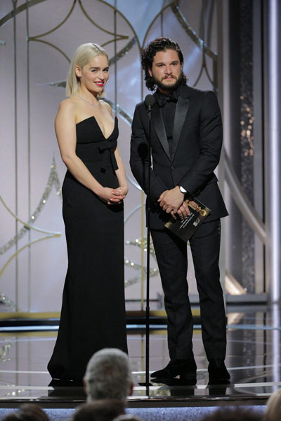 Emilia Clarke et Kit Harrington aux Golden Globes 2018
