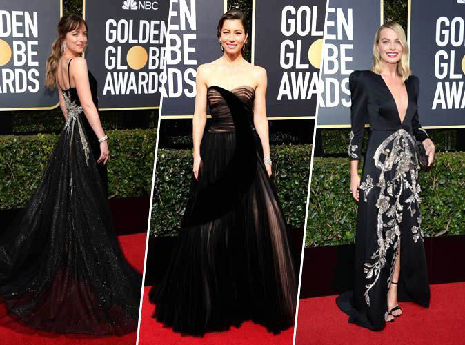robes cocktail longues noires aux Golden Globes 2018