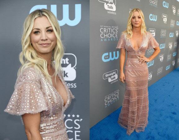 Kaley Cuocorayonnante dans une robe de cocktail sexy décolleté en V plongenant