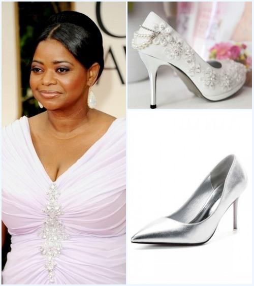 chaussures à talon haut pour assortir à la robe plissé de soirée col en V