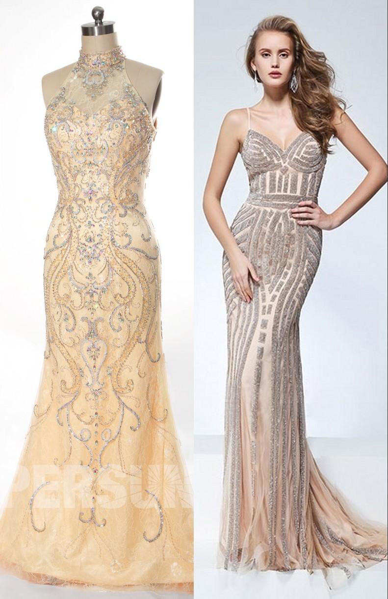 robe de soirée dorée chic pour les femmes