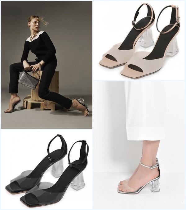 sandales sexy pas cher à talon carré