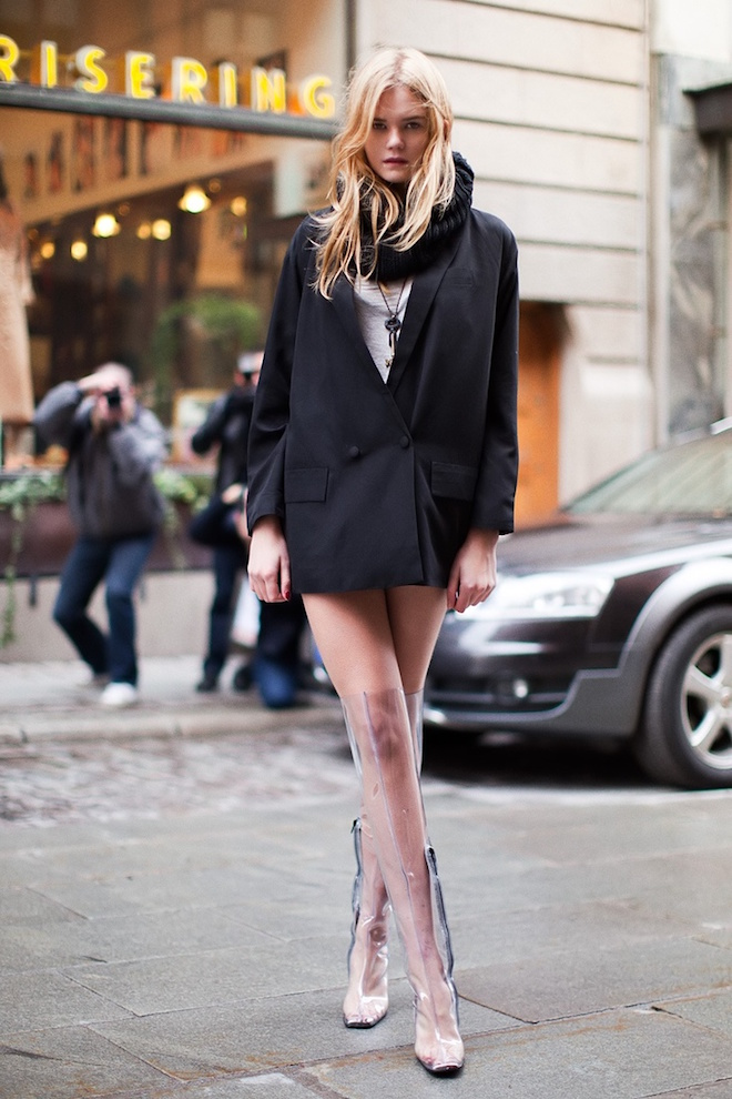 boots femme transparentes