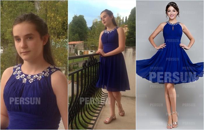 robe bleu courte col halter orné de strass pour remise de diplôme