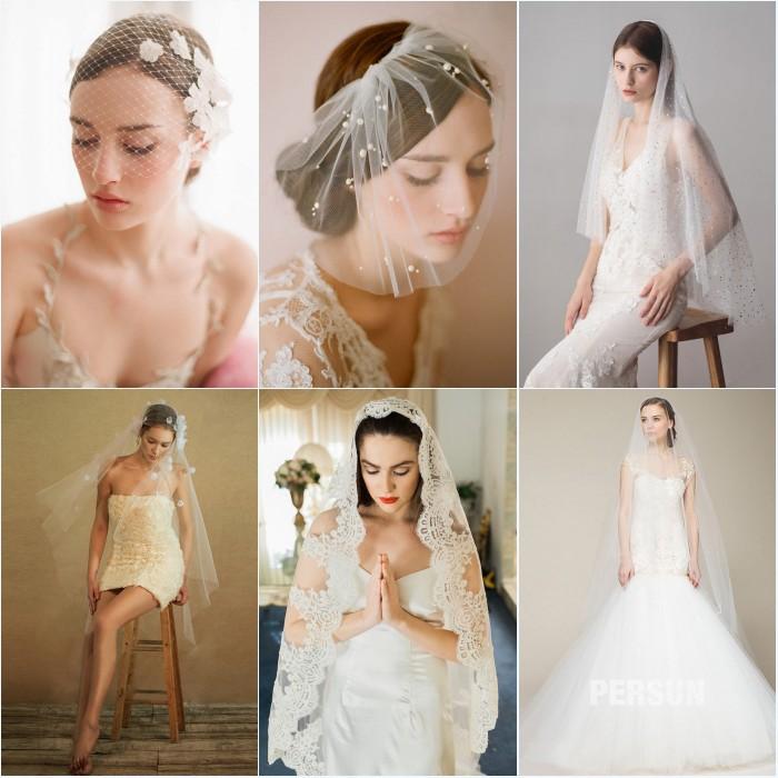 différentes voiles de mariée