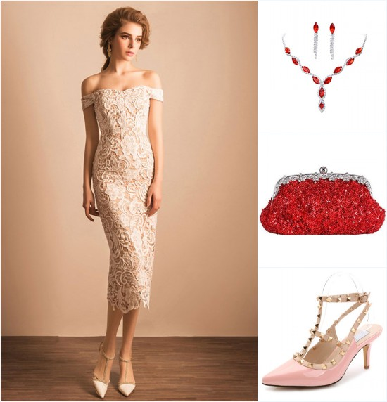 accessoires de couleurs vives pour une robe cocktai blanche