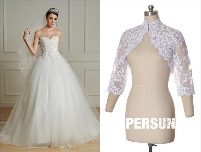 robe de mariée princesse et boléro dentelle
