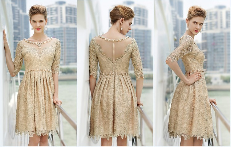robe de soirée courte avec manche en dentelle