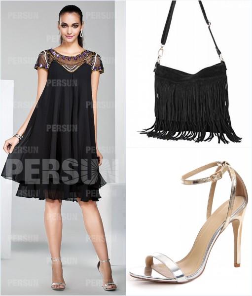 robe noire style bohème, sac à frange et sandale simple