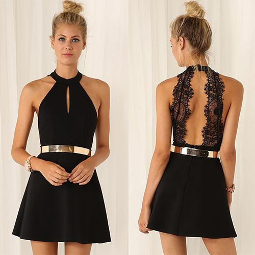 petite robe noire courte col halter dos découpé