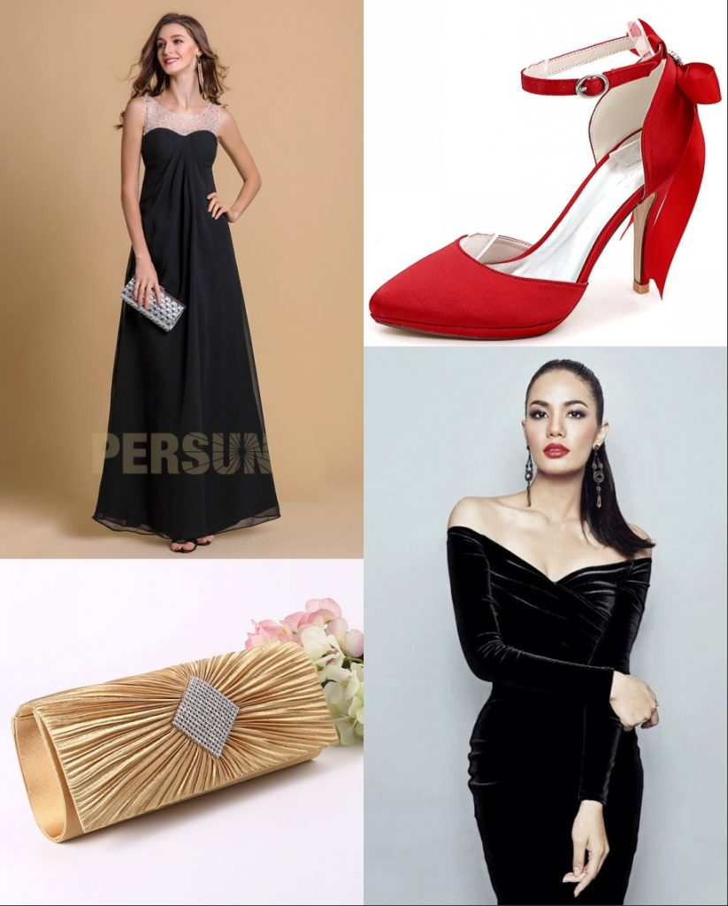 robe de cocktail noire longue velour avec accessoires