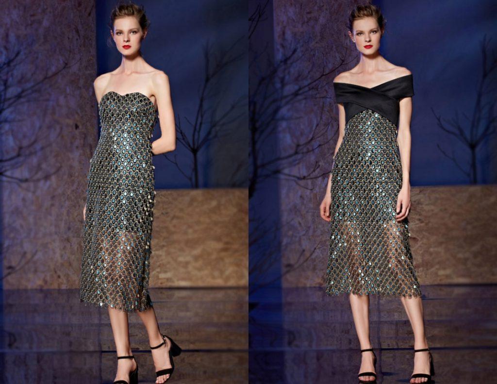 robe de cocktail sexy ornée de paillettes comme écaille de poisson mi-longue busrier avec étole détachable