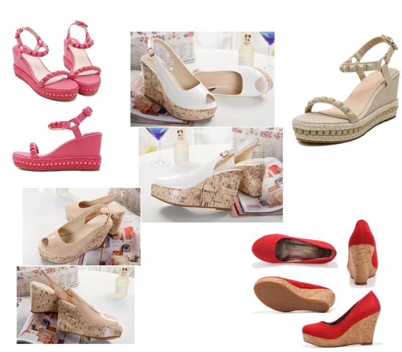 chaussure à talon compensé coloré