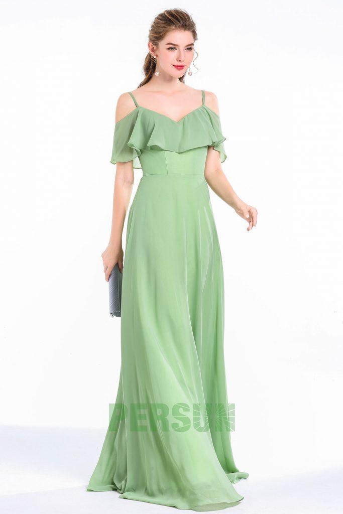 robe de cocktial verte longue simple col volant épaule dénudée avec bretelle fine