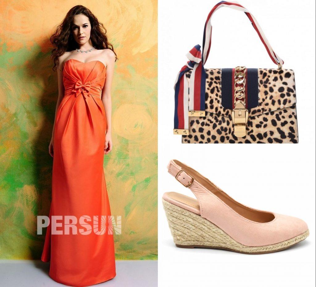 robe de cocktail longue orange bustier coeur  embelli de noeud papillon et sac à imprimé animal et chaussures rose