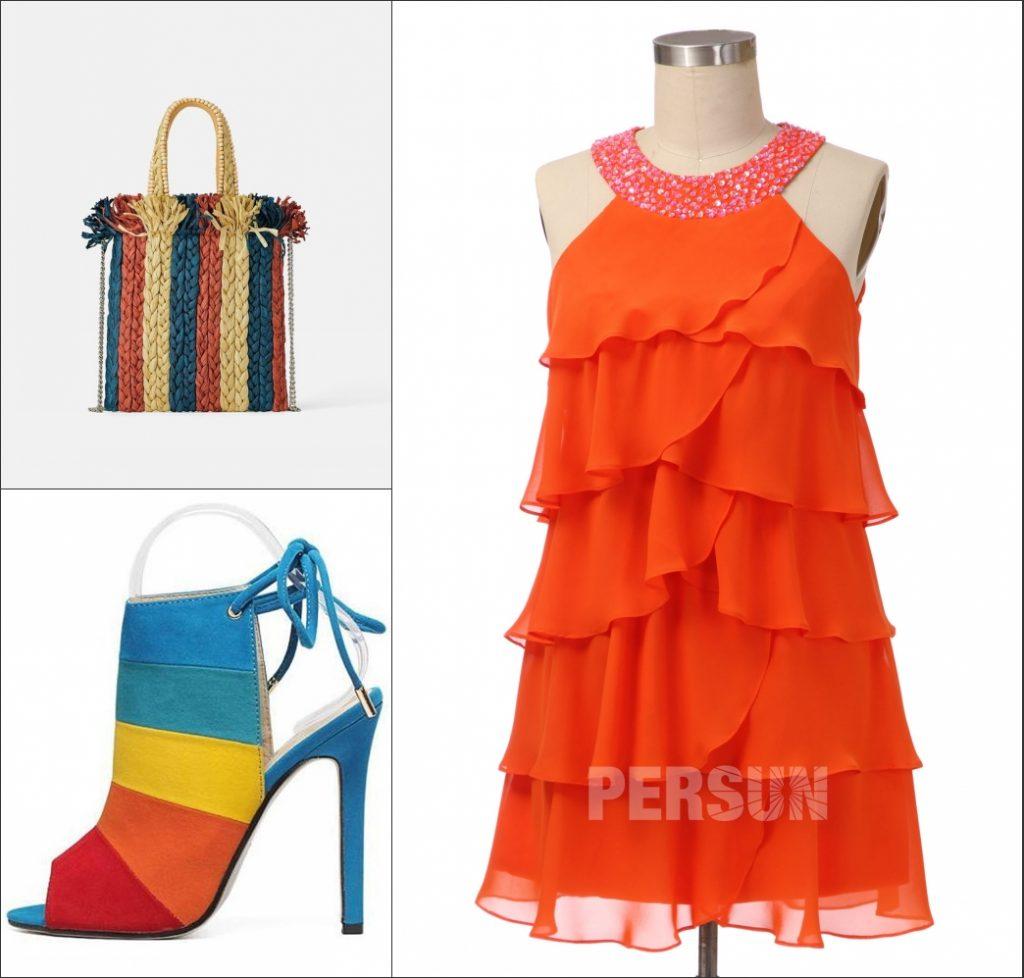 robe de cocktail courte orange col halter à volant et sac et chaussures colorée