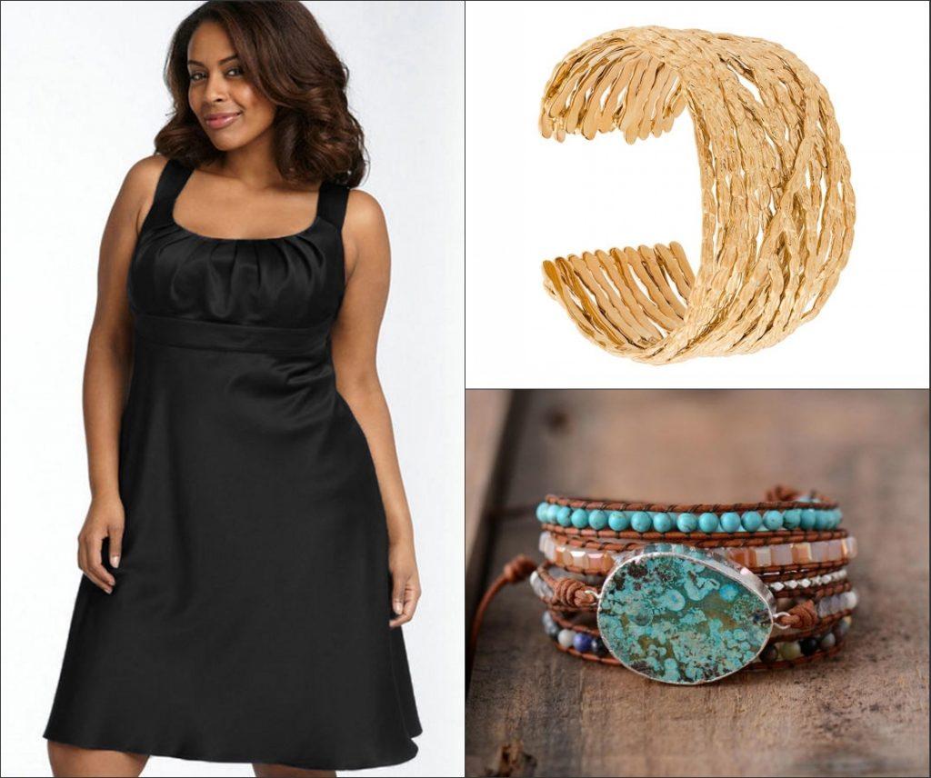 robe de cocktail noire courte empire avec des bracelet grand