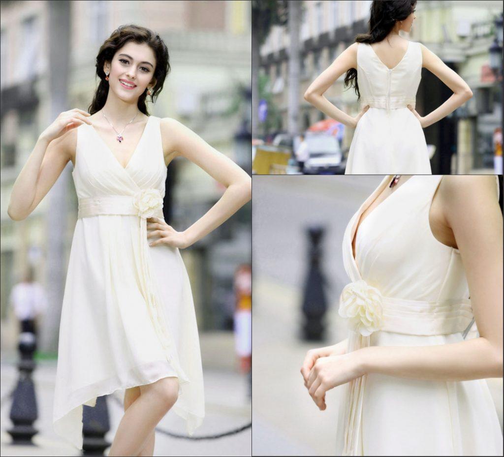 chic robe de cocktail blanche cache coeur drapé taille ornée de fleurs