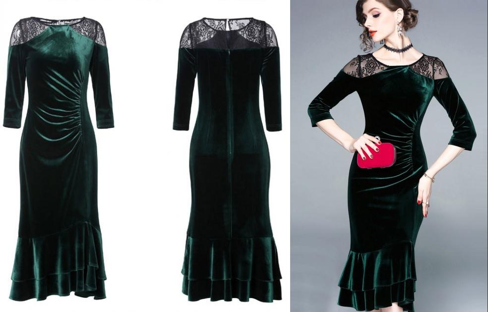 robe de cocktail courte vert sirène en dentelle exquise noire en velours à manches courtes