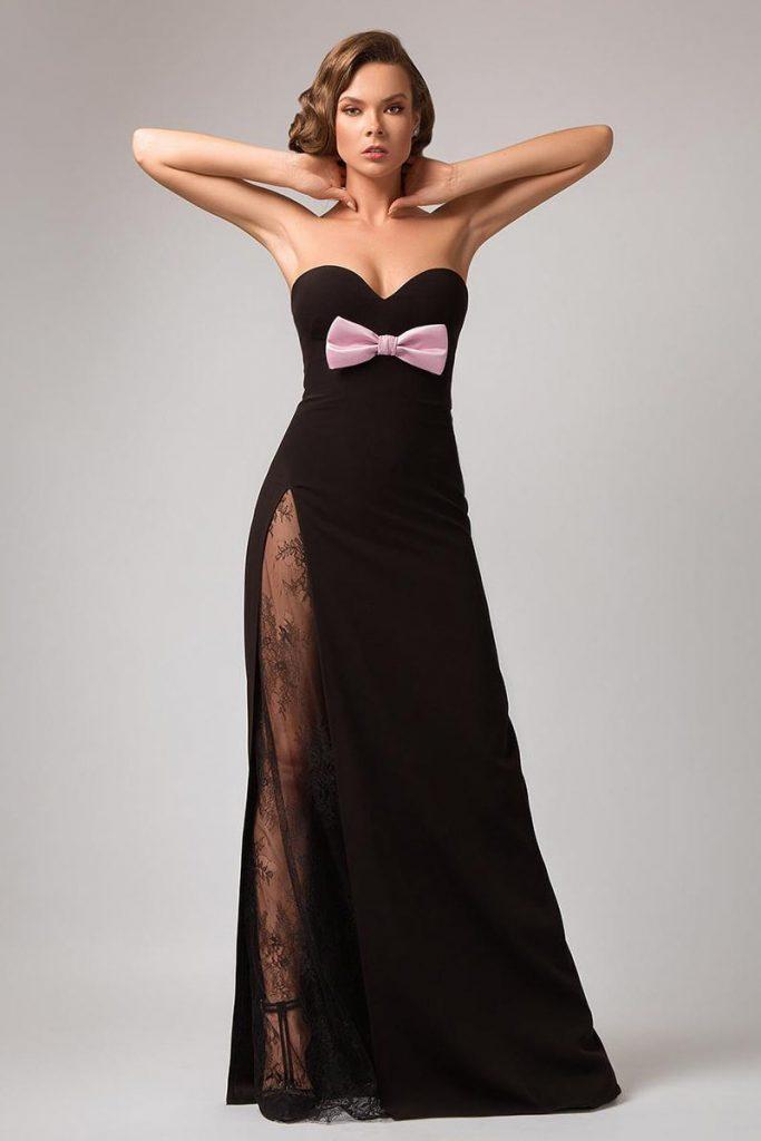 robe de cocktail sexy noire haut fente en dentelle bustier coeur embelli noued papillon