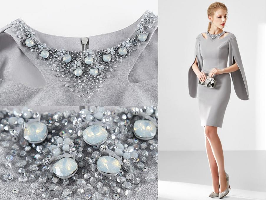 robe de cocktail élégante grise courte col embelli de bijoux délicats avec manches longues découpe