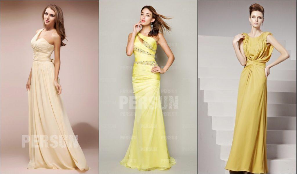robe de cocktail jaune longue pour automne 2019
