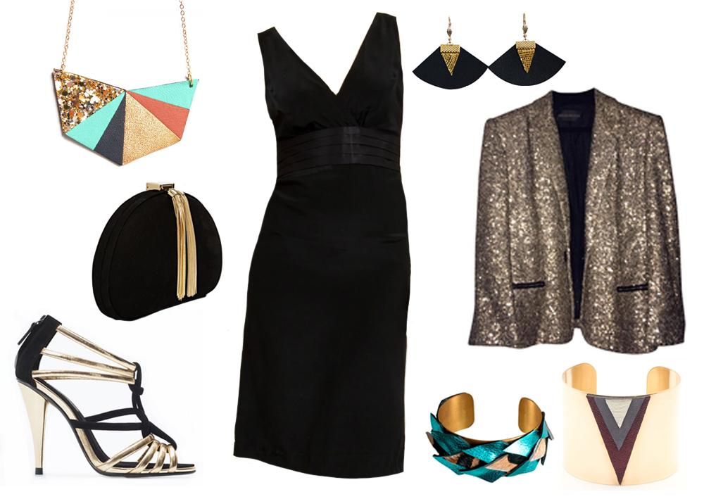 petite robe noire simple avec accessoires