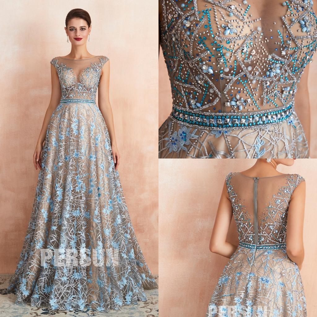robe de bal sexy transparent embelli de bijoux en dentelle florale bleue