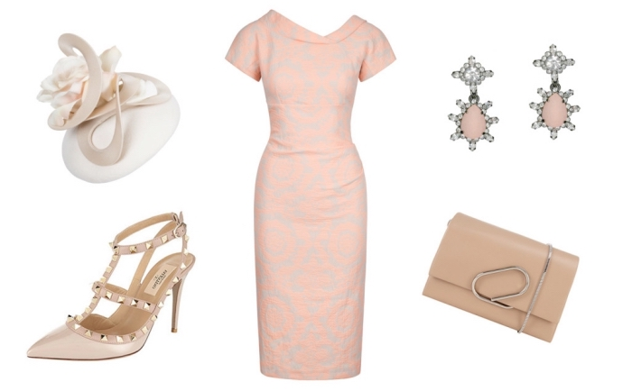 robe de cocktail courte rose imprimé avec accessories roses