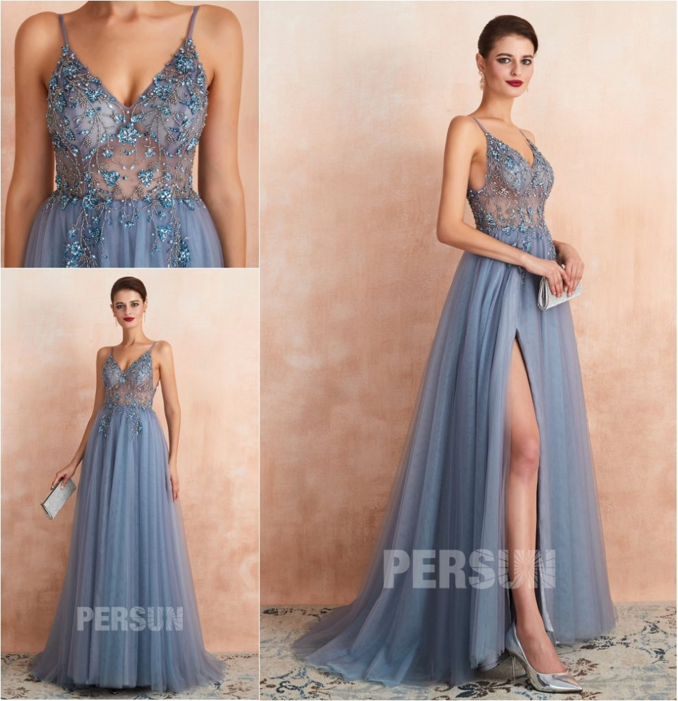 robe de soirée longue fendue bleu parme fendue ornée de strass exquis bretelle fine