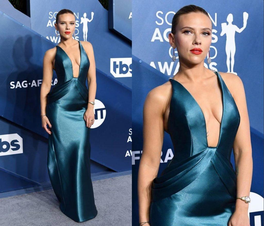 robe de cérémonie sexy de Scarlett Johansson col v plongeant