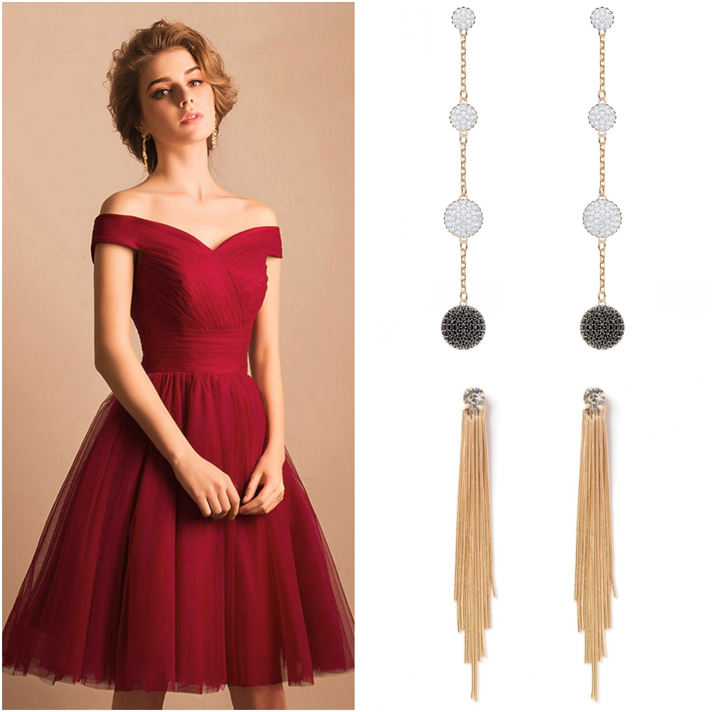 robe de cocktail courte bordeaux simple col bardot