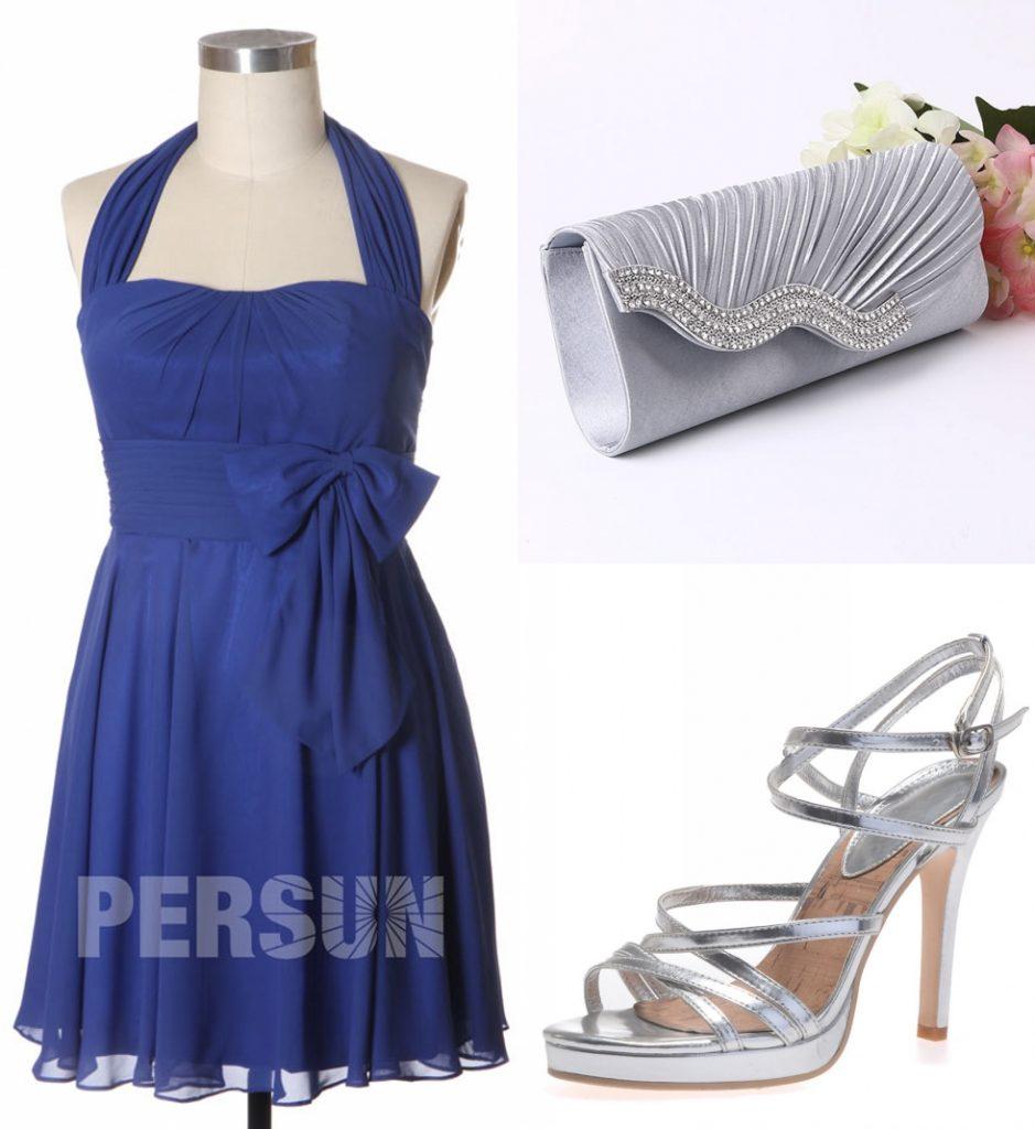 robe cocktail bleu classique courte simple col halter ornée de noeud papillon