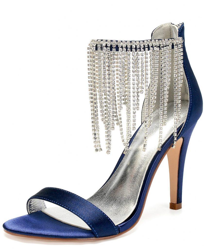 sandale bleu nuit à bride frangé de strass talon haut