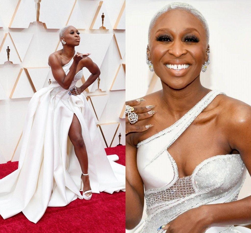robe de cérémonie blanche asymétrique de Cynthia Erivo Oscars