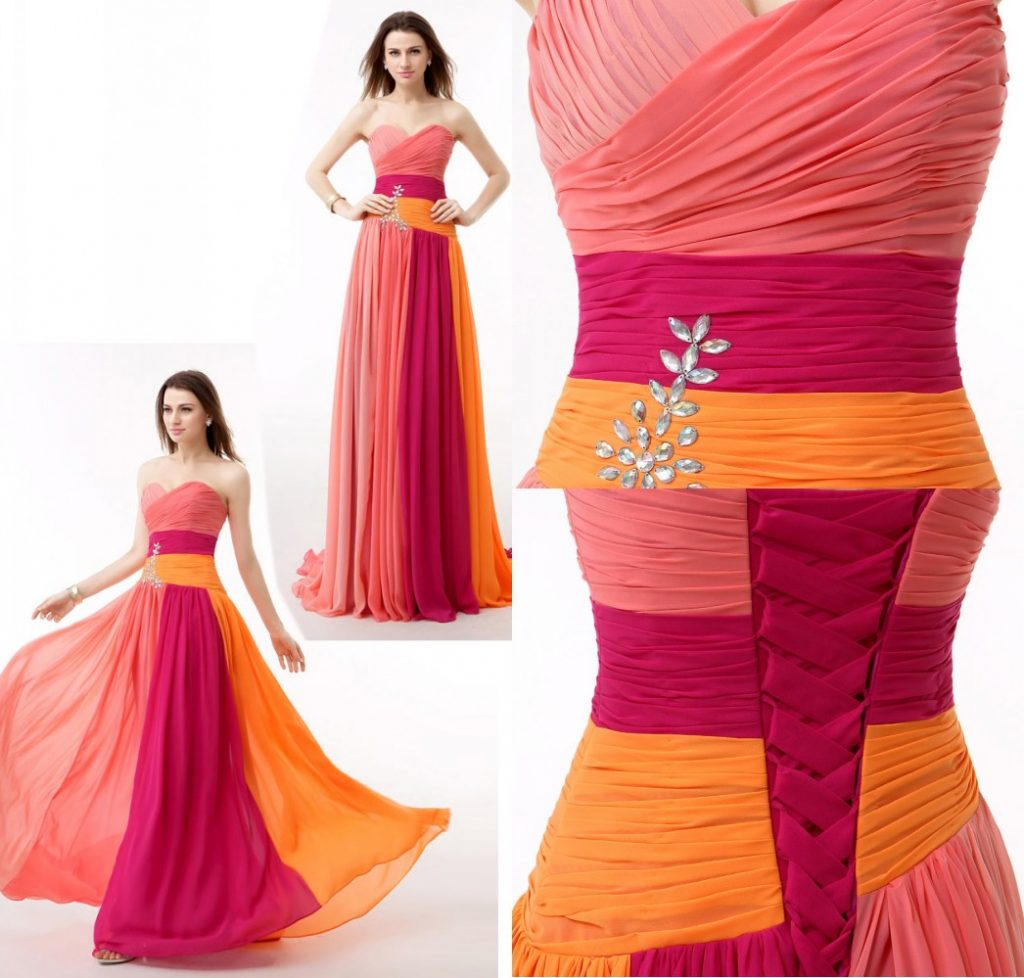 robe de cocktail longe colorée bustier coeur drapé embelli de bijoux