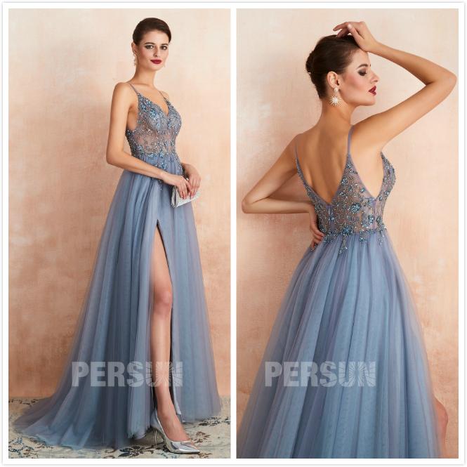robe fendue bleu parme fendue taille transparent orné de bijoux