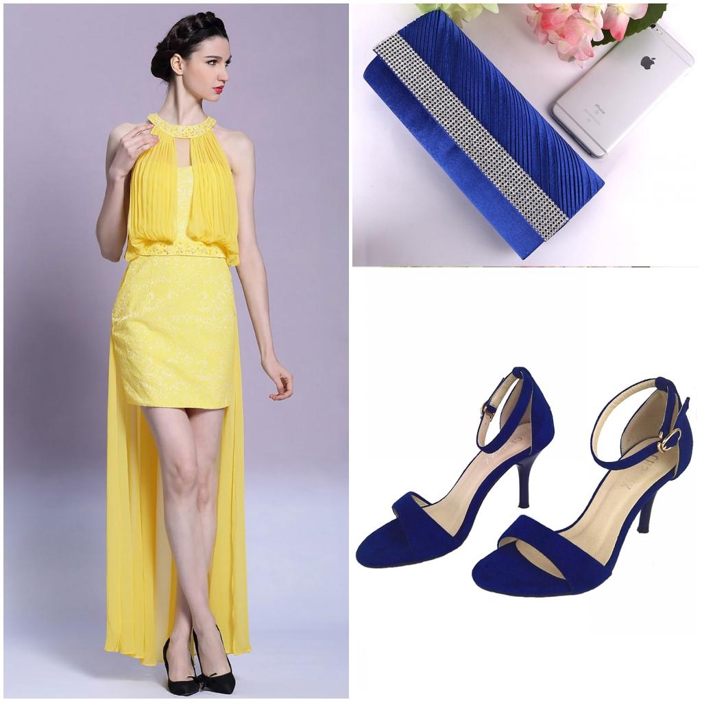 accessoires bleu pour assortir robe jaune courte devant longue derrière