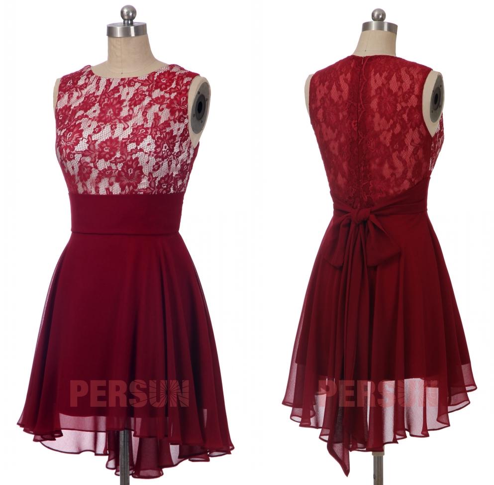 robe cocktail courte rouge bordeaux bustier dentelle style bascule