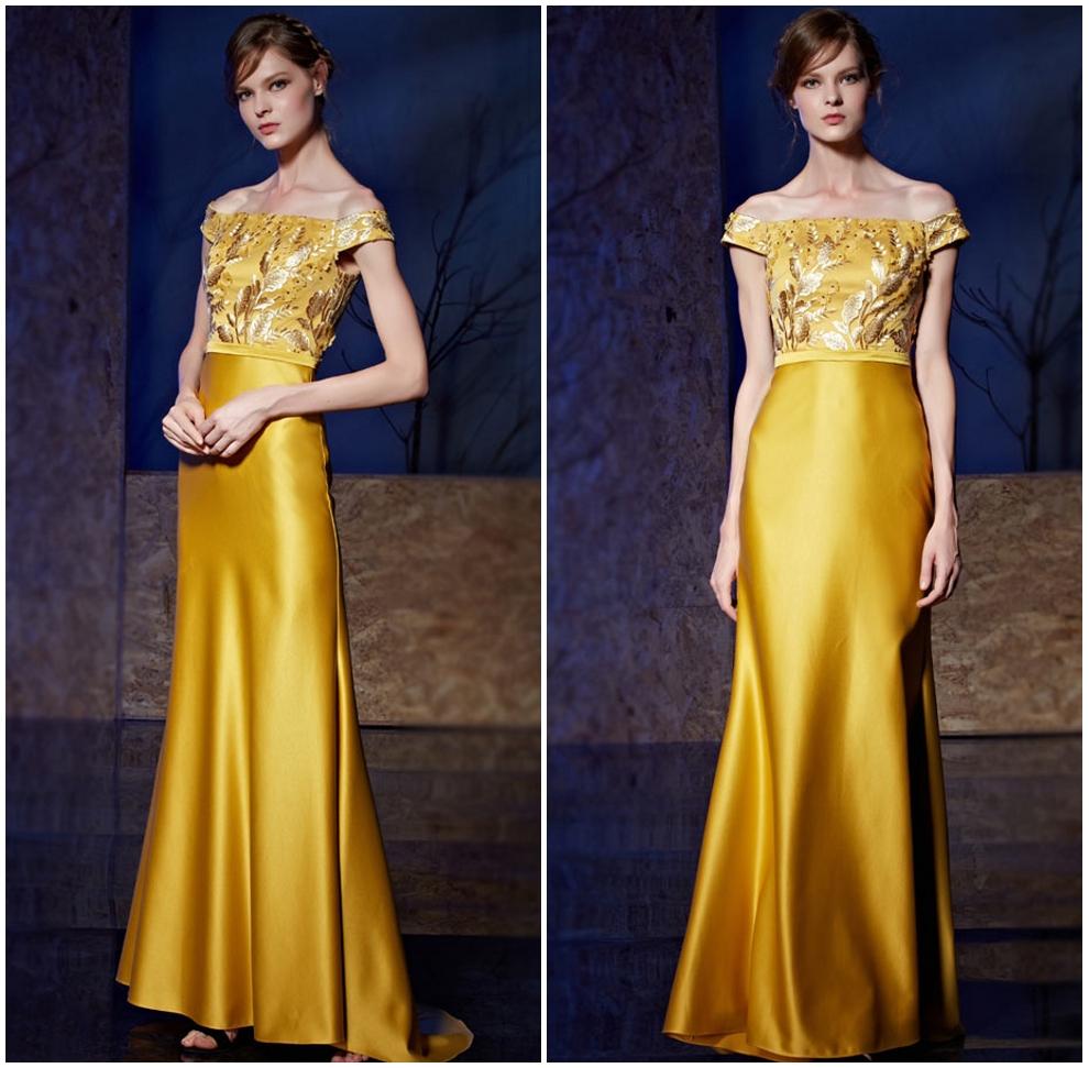robe longue jaune dorée épaule degagée à haut floral brodé