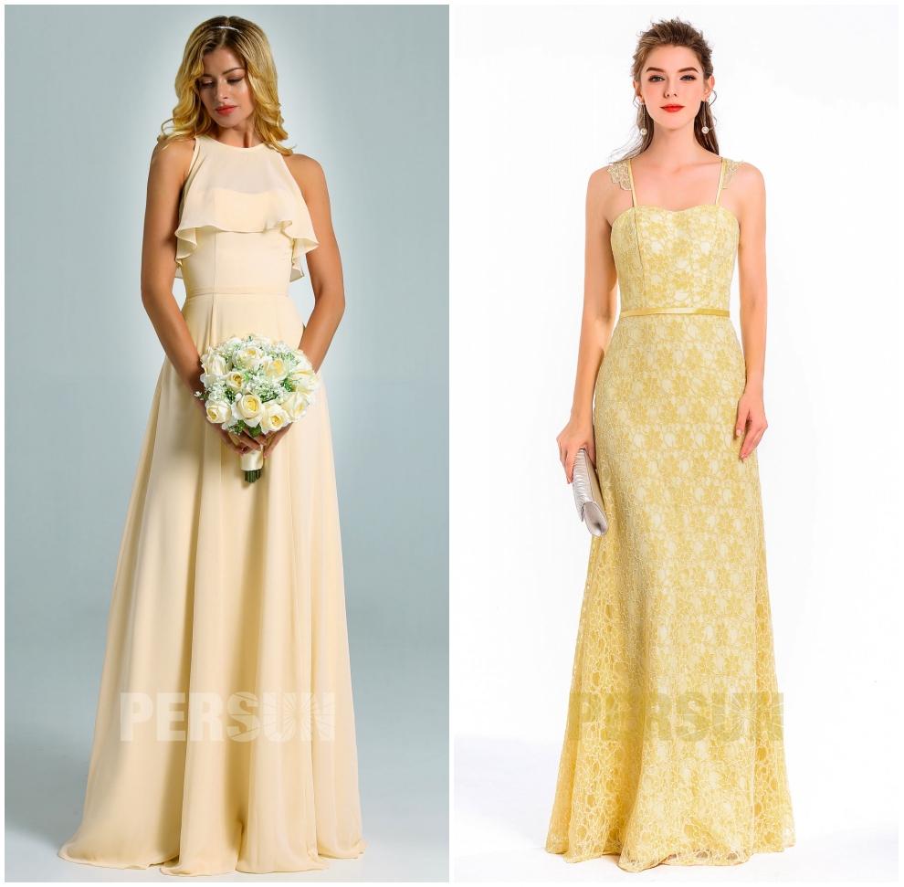 robe jaune longue ligne A dentelle