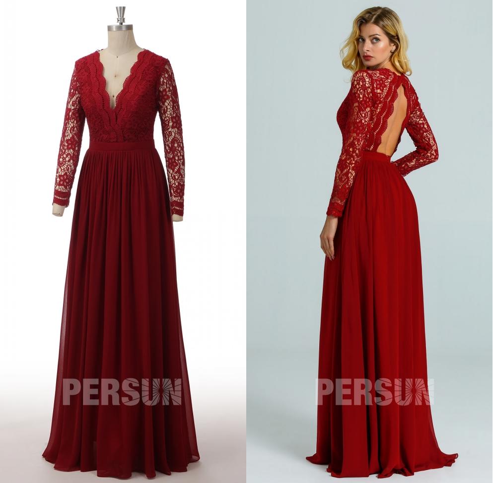 robe longue rouge bordeaux à bustier dentelle manche longue dos ouvert