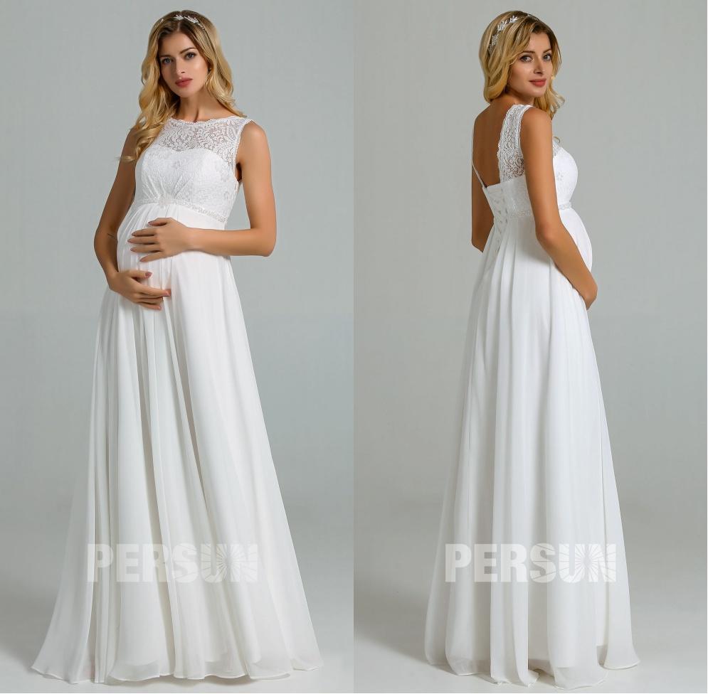 robe longue ivoire empire pour femme enceinte à encolure bateau